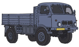 Old small terrain truck. Old blue terrain truck, vector illustration, hand drawing Vector Illustration
