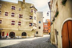 Old small town Kufstein, Tyrol area Stock Images