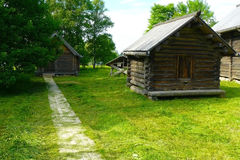 An old small wooden house. An old small barn in a beautiful northern village Stock Image