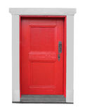 Old small wooden red door isolated. Stock Photo