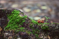 Old small wooden toy steam train royalty free stock image