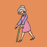Old smiley woman with cane Stock Photo
