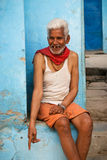 Old smiling gap-toothed man in India stock photography