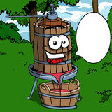 Old smiling wine press with speech bubble Royalty Free Stock Images