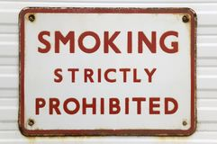 Old 'Smoking' sign Stock Photos