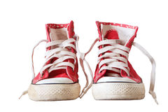 Old sneaker shoes isolated white Stock Photography