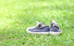 Sneakers in the grass. Old Sneakers in the grass Royalty Free Stock Images