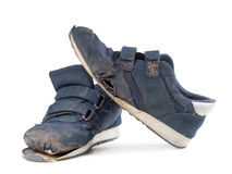 Old sneakers on white background Royalty Free Stock Images