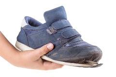 Old sneakers on white background Royalty Free Stock Image