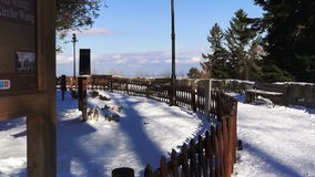 Old Snow Covered Cemetery on Top of the Hill stock video footage