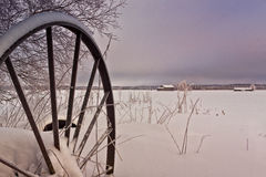 Old Snow Covered Harvester Royalty Free Stock Photography