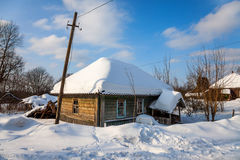 An old snow covered house Royalty Free Stock Photography