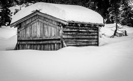 Old snowbound cabin Royalty Free Stock Image