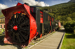 OLD SNOWPLOUGH TRAIN SKAGWAY ALASKA Stock Images