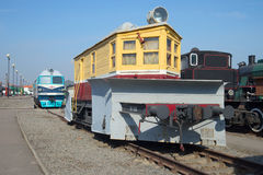 Old snowplow CO-1-750 on the October Railway. Saint Petersburg royalty free stock photo