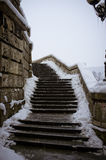 Old snowy stairs Royalty Free Stock Images