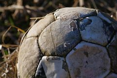 Old Soccer. Old Rusty Soccer Ball, Detail Royalty Free Stock Photos