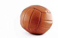 The old soccer ball. A vintage soccer ball with a white background Royalty Free Stock Images