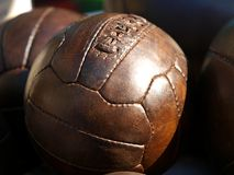 Old soccer ball Stock Images