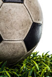 Old Soccer ball in the studio Stock Images