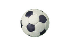 Old soccer ball. On a white background Royalty Free Stock Images