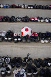 Old Soccer Boots & Match Ball Stock Photography