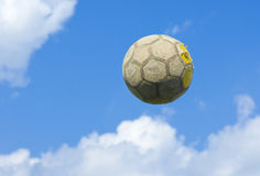 An old soccer (football) ball Royalty Free Stock Images