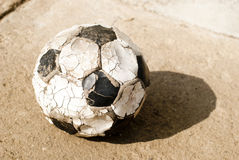 Old soccer (football) ball Royalty Free Stock Photo