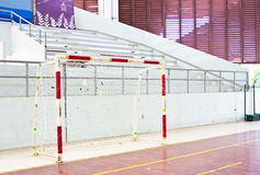 Old soccer goal indoor Stock Photos