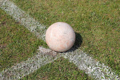 Old soccer on grass. In stadium Stock Image
