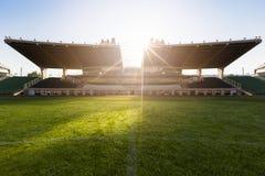 Old soccer stadium. An old football stadium's grandstand, grassy orbi Stock Images