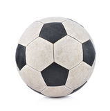 Old soccerball on white background. stock photography