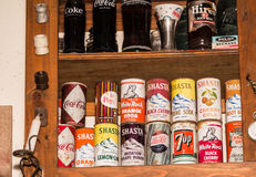 Old soda bottles and cans. Collection of old soda bottles and cans Royalty Free Stock Image
