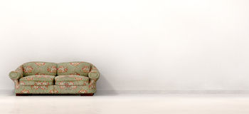 Old Sofa In Empty White Room. An front view of an old vintage couch in the left hand side of a stark white modern room with skirting and a reflective floor Royalty Free Stock Images