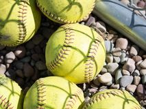 Old Softballs Yearn to See Gametime stock photos