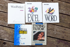 Old software manuals. Collection of old software manuals stock image