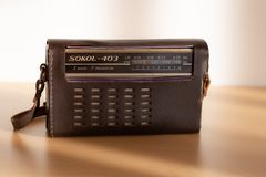 Old Sokol-403 radio with leather case in natural light. royalty free stock photos