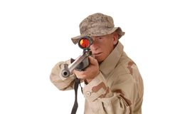 Old Soldier 3. Old soldier with sniper rifle stock images