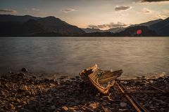 Old solitary boat destroyed royalty free stock images