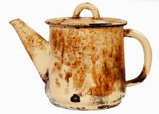Old sooty kettle. On white isolated Stock Photos