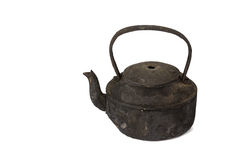 Old sooty kettle. Isolated on white background Stock Photos