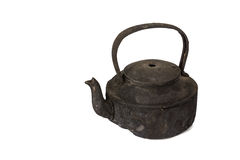 Old sooty kettle. Isolated on white background Stock Photography