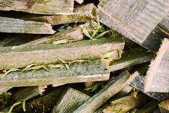 Texture of boards, bar and firewood. royalty free stock photos