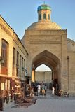 Old souks to the majestic streets of Bukhara in Uzbekistan. Bukhara, Uzbekistan - August 05, 2015: Old souks to the majestic streets of Bukhara in Uzbekistan Stock Photos
