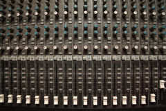 Old sound mixer pult. crossfaders and regulators Royalty Free Stock Image