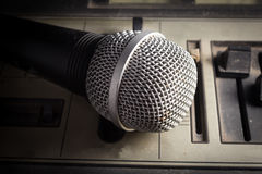Old sound player with microphone. Stock Photo