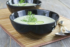 Сold soup with cucumber and yogurt Royalty Free Stock Photos