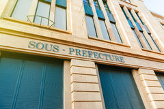 Old Sous-Prefecture signage on building in central Mulhouse, Stock Photo