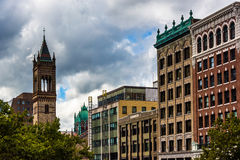 The Old South Church and buildings on Boylston Street in Boston, Stock Photos