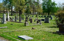 Old southern cemetery in America. Old cemeteries are often called cities of the dead Royalty Free Stock Photo